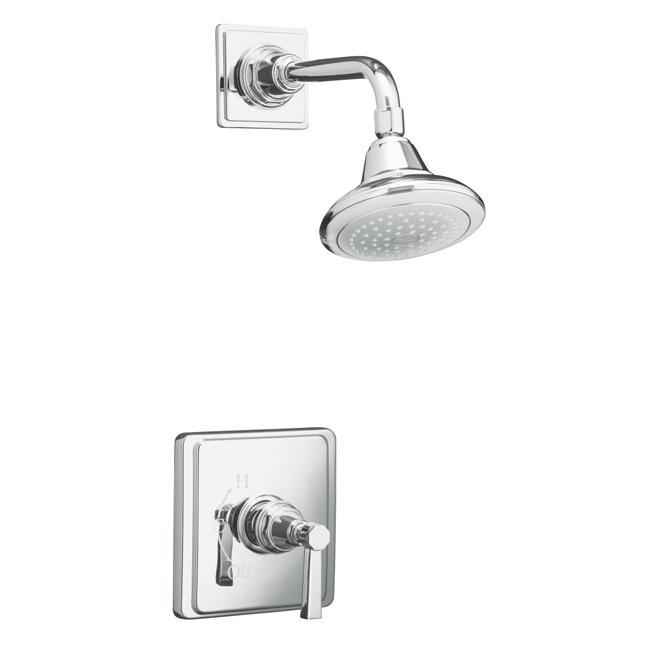 Kohler K-T13134-4A-CP Polished Chrome Pinstripe Pure Rite-Temp Pressure-Balancing Shower Faucet Trim With Lever Handle, Valve No