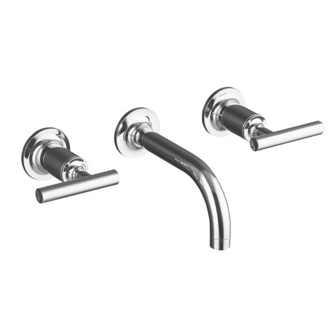 """Kohler K-T14412-4-CP Polished Chrome Purist Two-Handle Wall-Mount Lavatory Faucet Trim With 6"""", 90-Degree Angle Spout And Lever"""