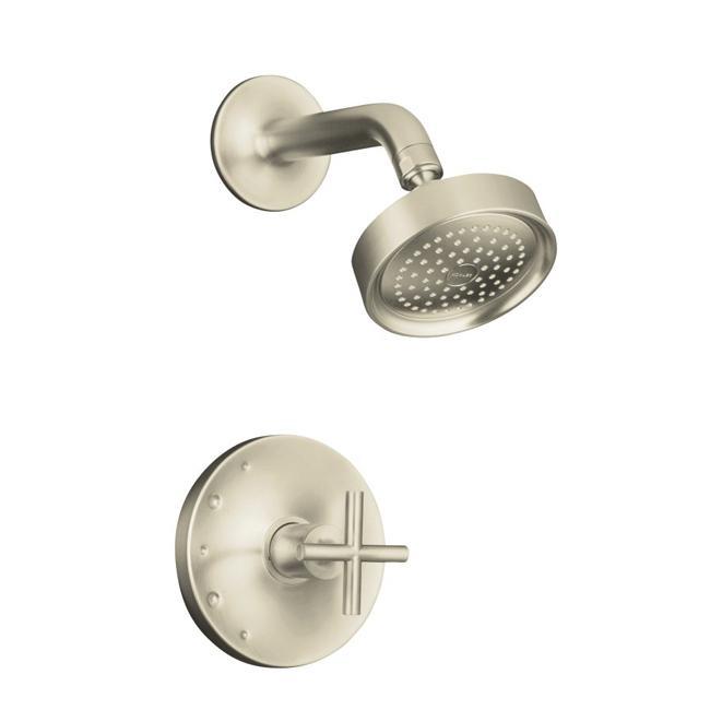 Kohler K-T14422-3-BN Vibrant Brushed Nickel Purist Rite-Temp Pressure-Balancing Shower Faucet Trim With Cross Handle, Valve Not
