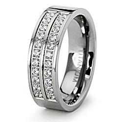 Men's Titanium Cubic Zirconia Flat Ring
