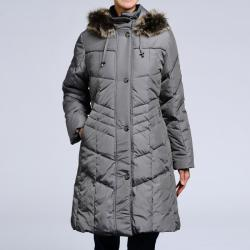 Nuage Women's Down Quilted Faux-fur Trim Hooded Coat