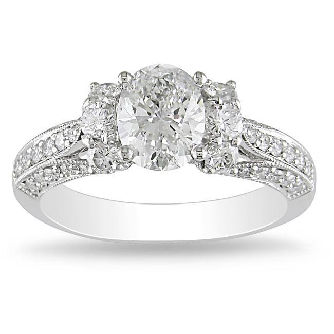 Miadora 18k White Gold 1 5/8ct TDW Diamond Engagement Ring (E, SI2)