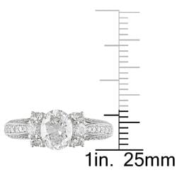 Miadora 18k White Gold 1 5/8ct TDW Diamond Engagement Ring (E, SI2)
