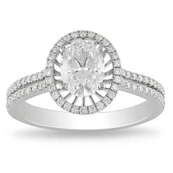 Miadora 14k White Gold 1 1/3ct TDW Certified Diamond Ring (E, VS1)