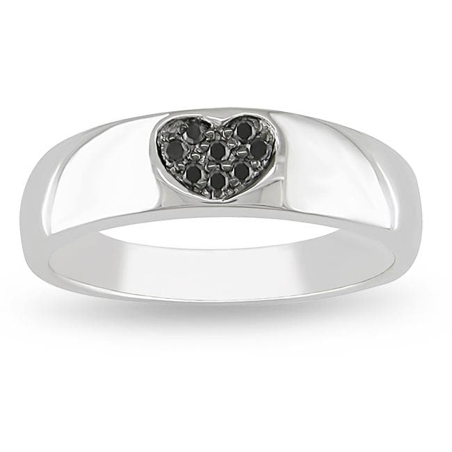 Sterling Silver Black Diamond Heart Ring