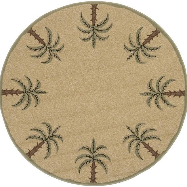 Picnic Beige Palm Tree Border Indoor/Outdoor Rug (5'3 Round)