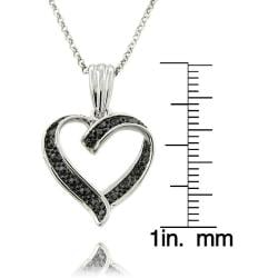Finesque Sterling Silver Black Diamond Accent Heart Necklace