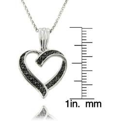 Sterling Silver Black Diamond Accent Heart Necklace