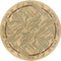 Picnic Tan Botanical Indoor/Outdoor Rug (7'3 Round)