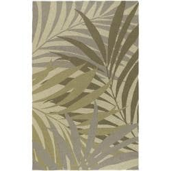 Hand-hooked Bliss Dark Sage Indoor/Outdoor Floral Rug (3' x 5')