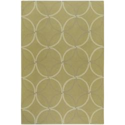 Hand-hooked Bliss Outdoor Sage Indoor/Outdoor Moroccan Trellis Rug (9' x 12')