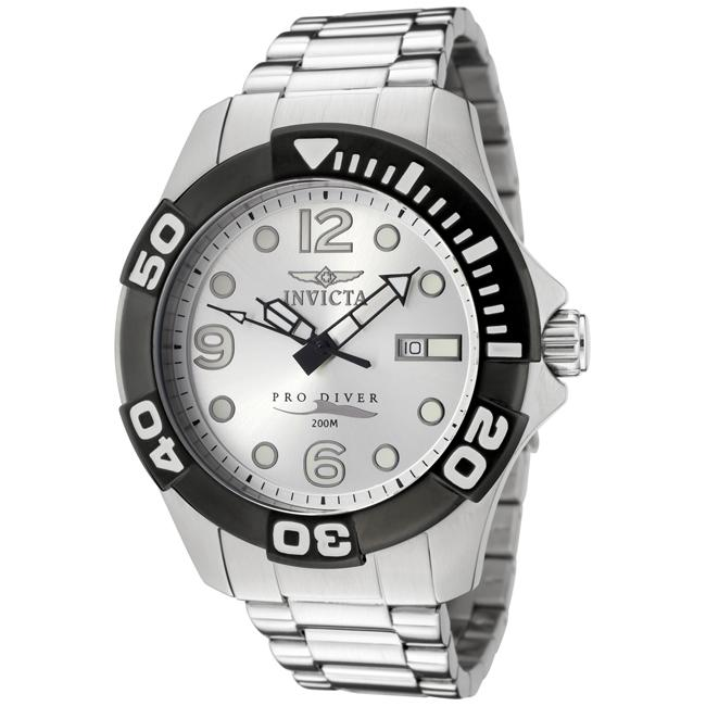 Invicta Men's 'Pro Diver' Silver Dial Stainless Steel Watch