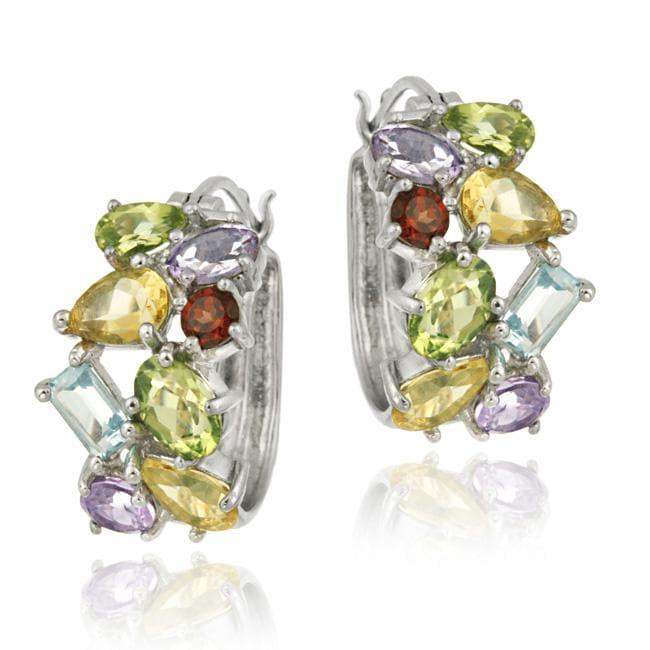 Glitzy Rocks Sterling Silver Multi-gemstone Hoop Earrrings