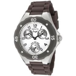 Invicta Women's 'Angel' White Dial Brown Silicon Watch