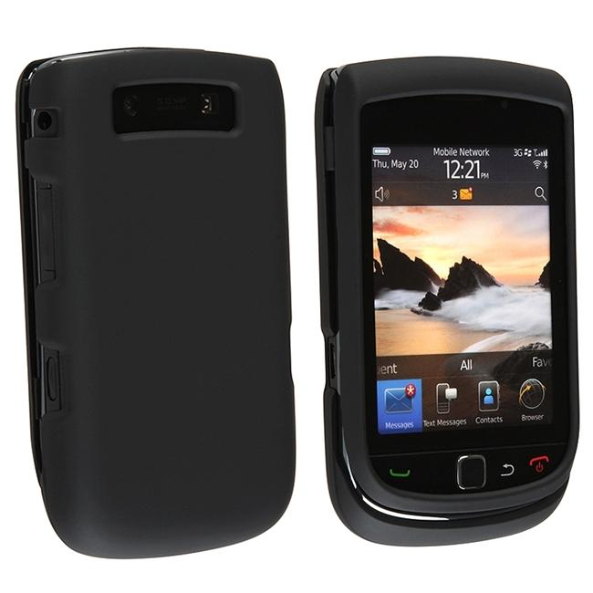 Black Rubber Coated Case for BlackBerry Torch 9800