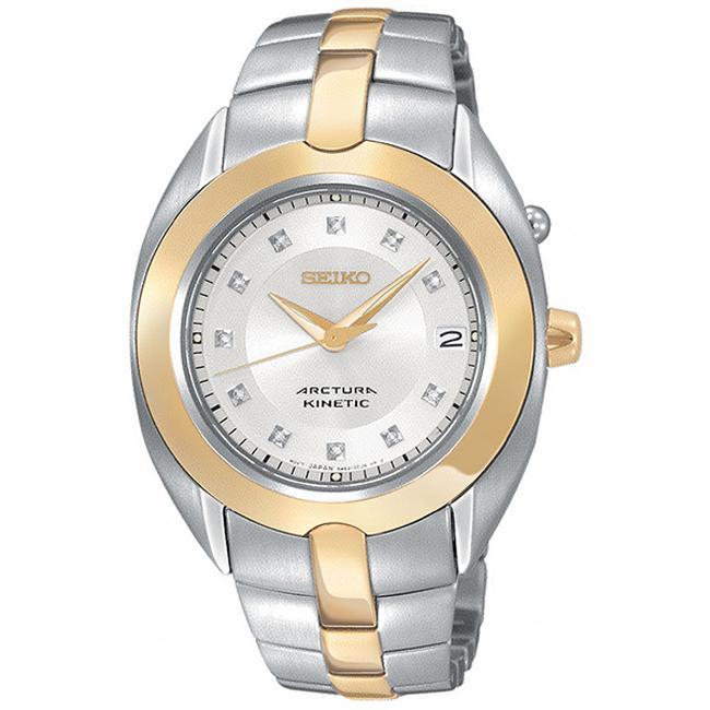 Seiko Women's 'Arctura' Steel Kinetic Diamond Watch