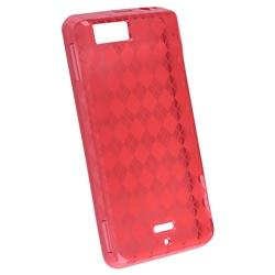 Clear Red Argyle TPU Rubber Case for Motorola MB810 Droid X