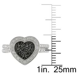 Miadora Sterling Silver 3/8ct TDW Black and White Diamond Ring Set (G-H, I3)