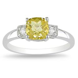 Miadora 10k White Gold Citrine and Diamond Accent Ring