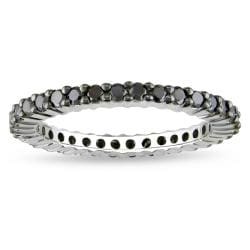 Sterling Silver 1ct TDW Black Diamond Eternity Ring