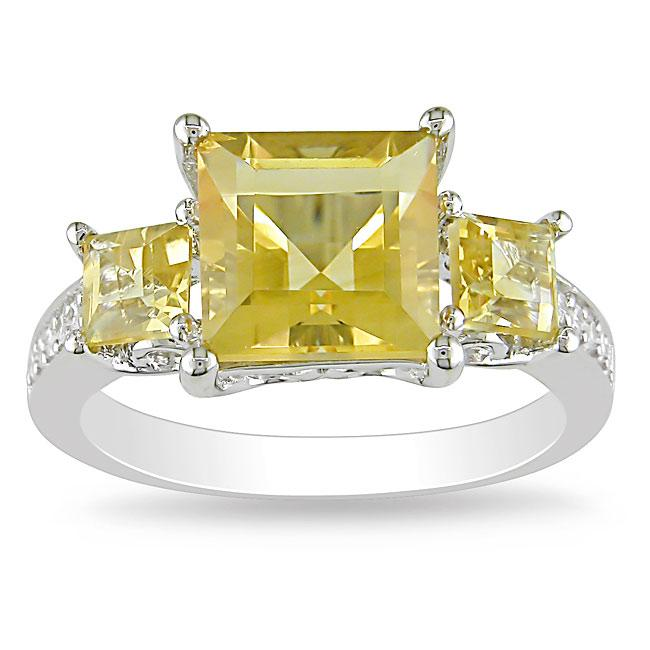 Miadora Sterling Silver Yellow and Clear Cubic Zirconia Engagement-style Ring