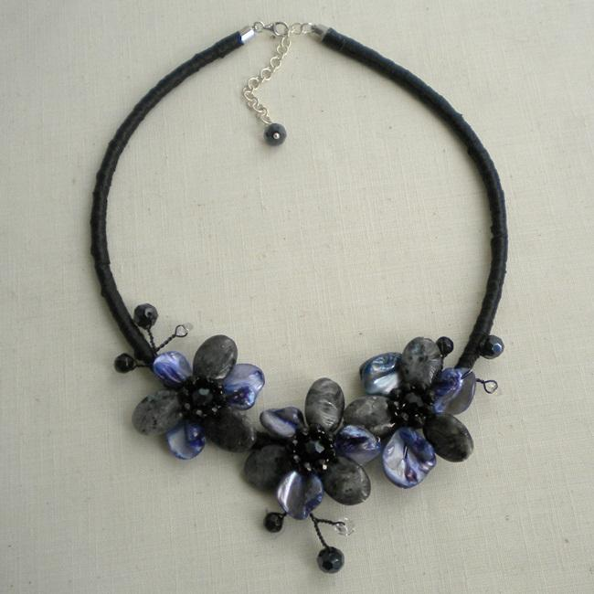 Labradorite and Mother of Pearl Triple Floral Necklace (Thailand)