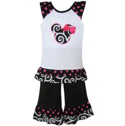 Ann Loren Girl's Polka Dot Mouse Capri Set