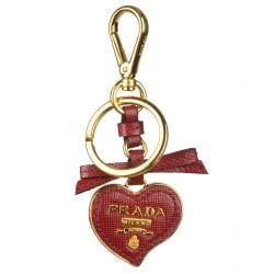 Prada Leather Heart Keychain - 13291269 - Overstock.com Shopping ...