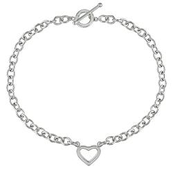Miadora 14k White Gold Togo Style Chain Heart Necklace