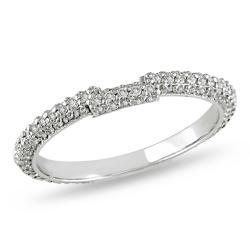 Miadora 14k White Gold 5/8ct TDW Diamond Curved Wedding Band (G-H, SI1-SI2)