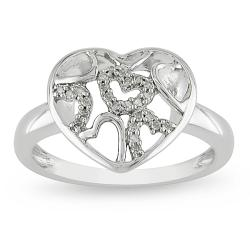 Miadora Sterling Silver 1/10ct TDW Diamond Heart Ring (G-H, I2-I3)