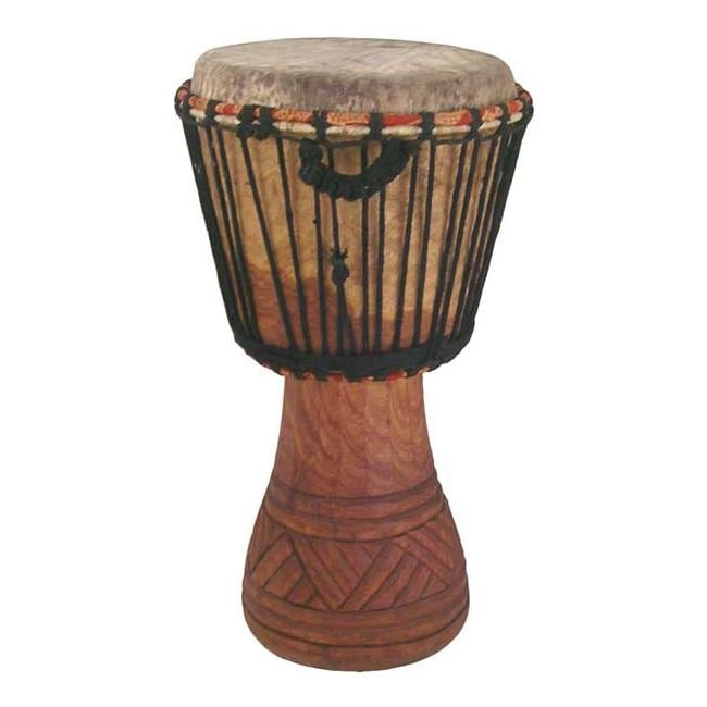 Hand-carved 13x24-inch African Djembe Drum (Ghana)