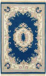 Hand-knotted Aubusson Navy Wool Rug (3'6 x 5'6)