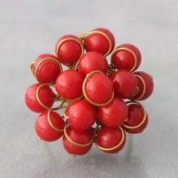 Brass and Red Coral Front Cluster Ring (Thailand)