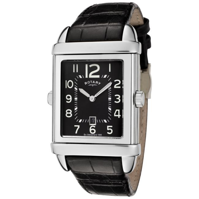 Rotary 'Revelation' Black/ White Dial Black Leather Strap Watch