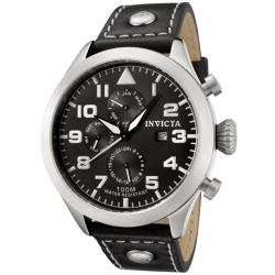 Invicta Men's 'Specialty' Black Dial Black Calf Leather Watch
