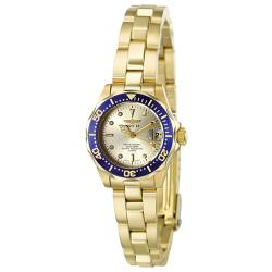 Invicta Women's 'Pro Diver' Light Gold Dial 18k Goldplated Watch