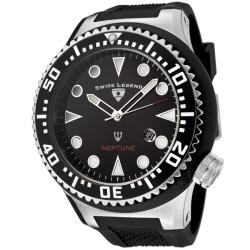 Swiss Legend Men's 'Neptune' Black Dial Black Textured Silicone Watch