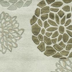 Handmade Soho Botanical Light Grey N. Z. Wool Runner (2'6 x 14')