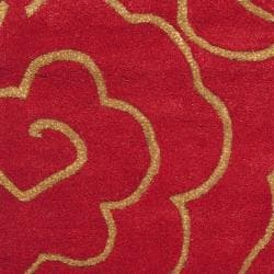 Handmade Soho Roses Red New Zealand Wool Rug (2' x 3')