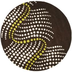 Handmade Soho Waves Brown New Zealand Wool Rug (6' Round)