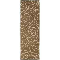 Safavieh Handmade Soho Roses Brown New Zealand Wool Runner (2'6 x 8')