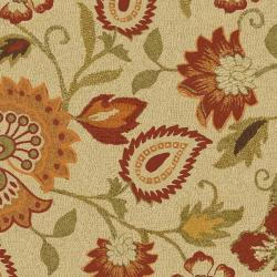 Handmade Blossom Paisley Beige Wool Rug (3' x 5')