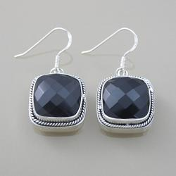 Sterling Silver Black Onyx Square Bali Dangle Earrings (Indonesia)