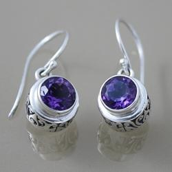 Sterling Silver Faceted Amethyst Dangle Bali Earrings (Indonesia)