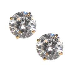 14k Yellow Gold Prong-set Cubic Zirconia Stud Earrings