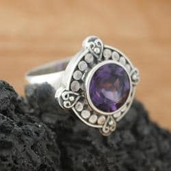 Sterling Silver Round Amethyst Bali Ring (Indonesia)