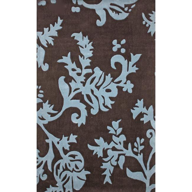 NuLOOM Handmade Pino Brown/ Teal Floral Vine Rug (8'6 X 11