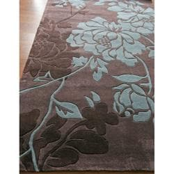 Handmade Alexa Pino Yarrow Brown/ BlueFloral Rug (3'6 x 5'6)