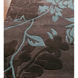 nuLOOM Handmade Pino Yarrow Brown/ BlueFloral Rug (3'6 x 5'6)